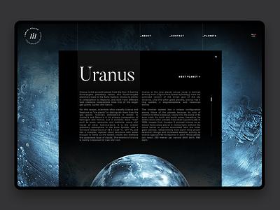 Space Exploration Planet Details uranus web design ui website web interaction layout planet space samuel scalzo dark clean