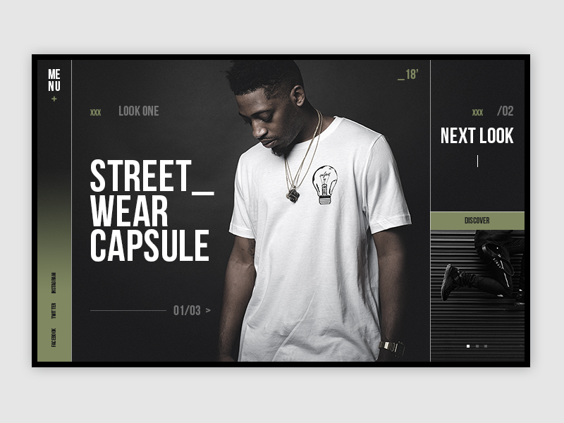 Streetwear UI samuel scalzo lookbook template website black dark camo uiux ui streetwear fashion