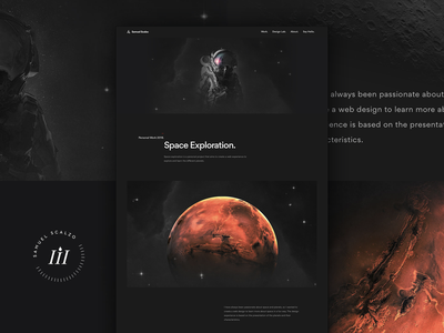 Personal Portfolio Work ui scalzodesign portfolio space interaction web design dark «samuel scalzo»
