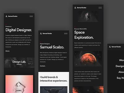 Mobile personal portfolio scalzodesign uiux dark typogaphy interface portfolio mobile «samuel scalzo» ui