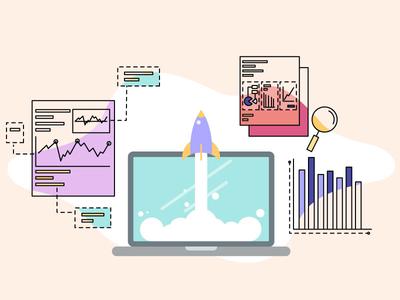 Market Research colors blob design artwork create research rocket illustration laptop graphs market research