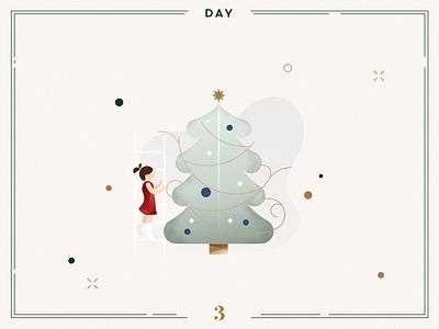 Day 3🎄The Christmas Tree navidad ilustracion xmas illustration xmas vector illustration vector christmas decoration christmas tree design illustration christmas illustration christmas