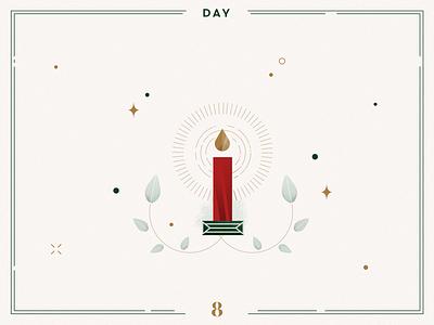 Day 8🎄✨Christmas Candle star light christmas light candles minimalist design branding vector advent calendar xmas illustration navidad christmas illustration christmas