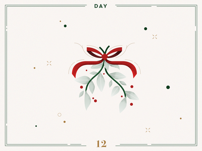 Day 12 🎄😘 Mistletoe Kisses christmas mistletoe mitletoe ribbon ilustracion navidad christmas decoration design vector navidad advent calendar xmas minimalist illustration christmas illustration christmas