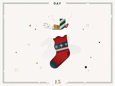 Day 15 🎄Christmas stocking socks stocking christmas stocking ilustracion navidad christmas decoration design vector navidad advent calendar xmas minimalist illustration christmas illustration christmas