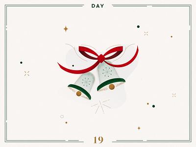 Day 19 🎄🔔Christmas Bells christmas bells bells ribbon character design ilustracion navidad christmas decoration design vector navidad advent calendar xmas minimalist illustration christmas illustration christmas