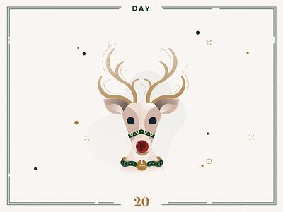 Day 20🎄Rudolph the red-nosed reindeer christmas rudolph rudolph reindeer ilustracion navidad christmas decoration design vector navidad advent calendar xmas minimalist illustration christmas illustration christmas
