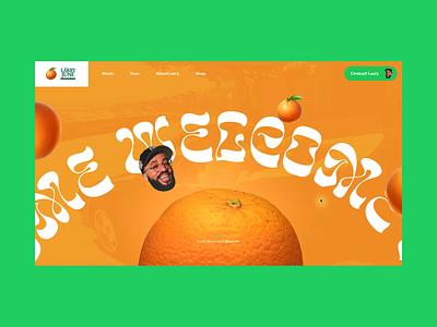 Larry June Concept #2 🍊- Home & Adlib loader loading animation loop hip hop organic animated fun green orange interactive webdesign website ux design ui design interface typography concept animation interaction art direction
