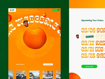 Larry June Concept #1 🍊- Home page details eshop organic music interactive rap hip hop mobile healthy green orange branding webdesign website ux design ui design interface typography concept interaction art direction
