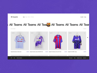 ClassicKit Concept #1 ⚽️- All Items Scroll / E-Shop loop texture colorful vintage football transition loading animation e-commerce animated webdesign website ux design ui design interface animation typography concept interaction art direction experimentation