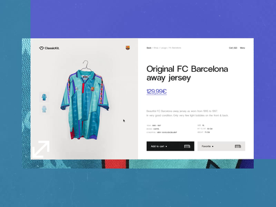 ClassicKit Concept #2 ⚽️- Details Zoom Item Page / E-Shop experiment art direction interaction concept typography animation interface ui design ux design website webdesign animated e-commerce swipe zoom football vintage colorful texture loop