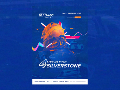 ELMS #4 - Official Race Poster / Silverstone  🏁 🇬🇧 concept art direction branding typography print race championship glitch vhs retrofuture video game videogame interaction animated photoshop motion blue orange interface animation