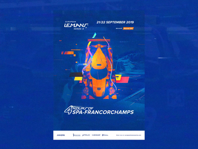 ELMS #5 - Official Race Poster / Spa  🏁 🇧🇪 animation interface orange blue motion photoshop animated interaction video game videogame retrofuture vhs glitch championship race print typography branding art direction concept