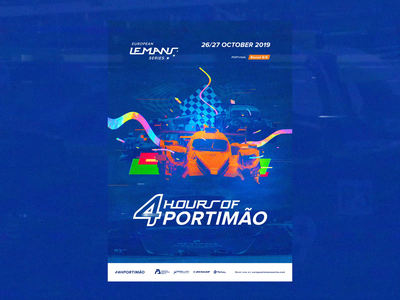 ELMS #6 - Official Race Poster / Portimão  🏁 🇵🇹 animation interface orange blue motion photoshop animated interaction video game videogame retrofuture vhs glitch championship race print typography branding art direction concept