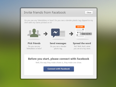 Invite Facebook friends modal