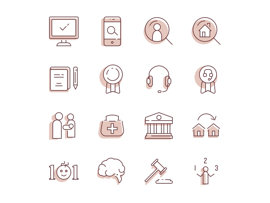 Angel's Foster Care Icons computer phone family court 101 home certification award ui notebook brain headset search monitor vector illustrations pink icons