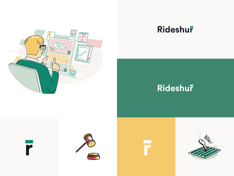Rideshur – Style Guide illustration style guide green agency ridehsur branding agency london branding app animation interaction typography clean design uiux ui style ux ui