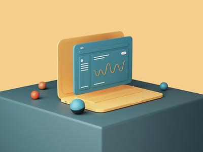 Hive – 3D data laptop 3d typography design clean uiux ui style ux ui