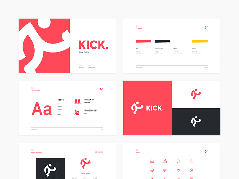KICK Style Guide behance process typography uiux ui style design style kick ui logo branding slides style guide