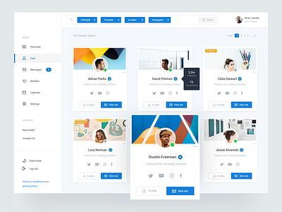 Influencer Dashboard ui style profile minimal typography design social ux ui clean influencers dashboard app dashboard