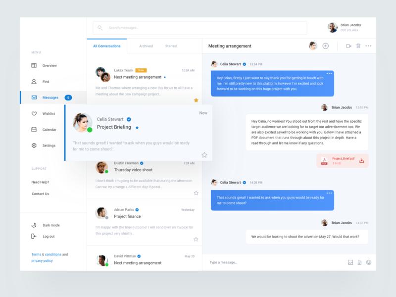 Dashboard Client Message dashboard ux ui mail message client interface clean blue social attachment profiles