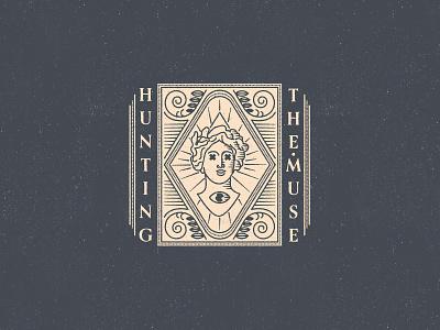 Hunting the Muse eye branding mythological mythology greek logotype logo texture design