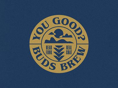 Buds Brew logo design vintage lettering typogaphy badge branding and identity logo branding