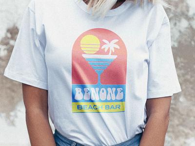 Benone Beach Bar - Shirt sea beach sunset sun shirt branding bar cocktail tshirt design texture illustration lettering type typography