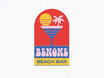 Benone Beach Bar logotype logo branding cocktail sea seaside beach bar illustration texture lettering type typography