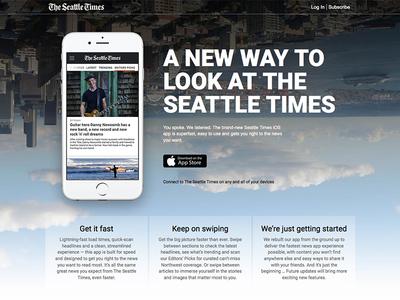 Seattle Times app landing page