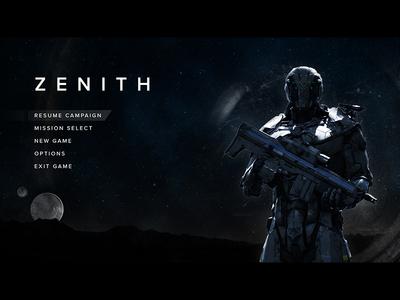 Zenith - Video Game Menu Screen