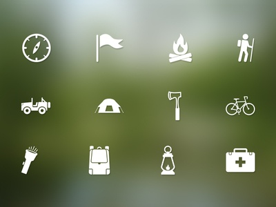 Parks and Rec / Camping Icons survival camps parks woods forest recreation rec camping adventure icons