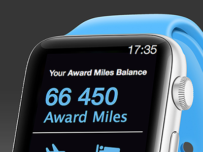 Flying Blue Miles account for iWatch wearable mockup concept mobile interface ux ui application iwatch app