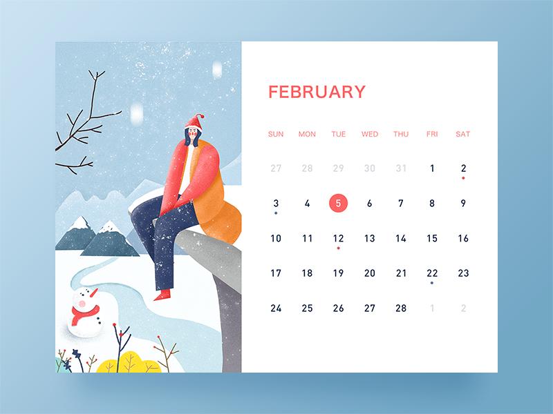 February desk calendar ui illustration