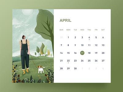 April desk calendar ui banner illustration