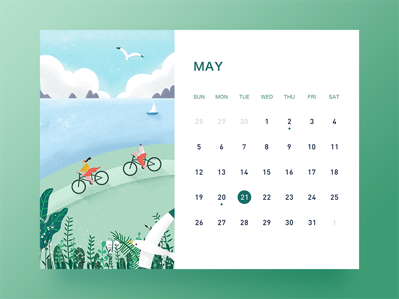 May banner desk calendar ui illustration