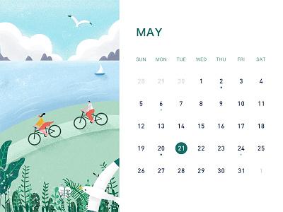 May banner desk calendar ui illustration
