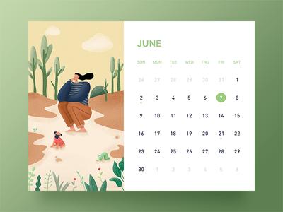 June ui banner desk calendar illustration