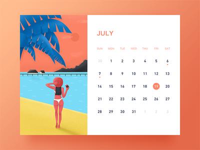 July banner ui desk calendar illustration