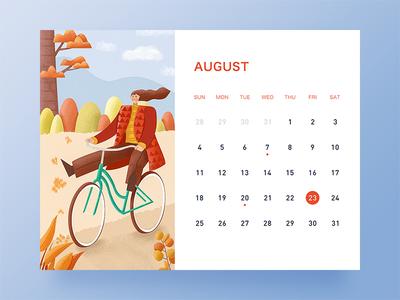 August banner desk calendar ui illustration