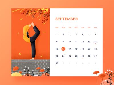 September banner ui desk calendar illustration