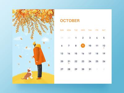 October banner ui desk calendar illustration