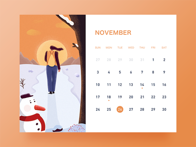 November ui desk calendar illustration