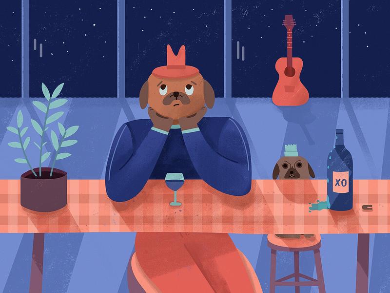Single dog red wine lonely 品牌 illustration