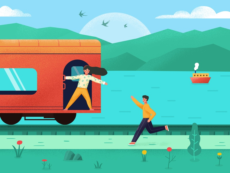 Get on the train travel ship train illustration
