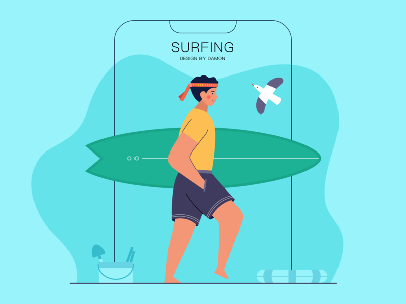 surfing uiux poster play surfing illustration