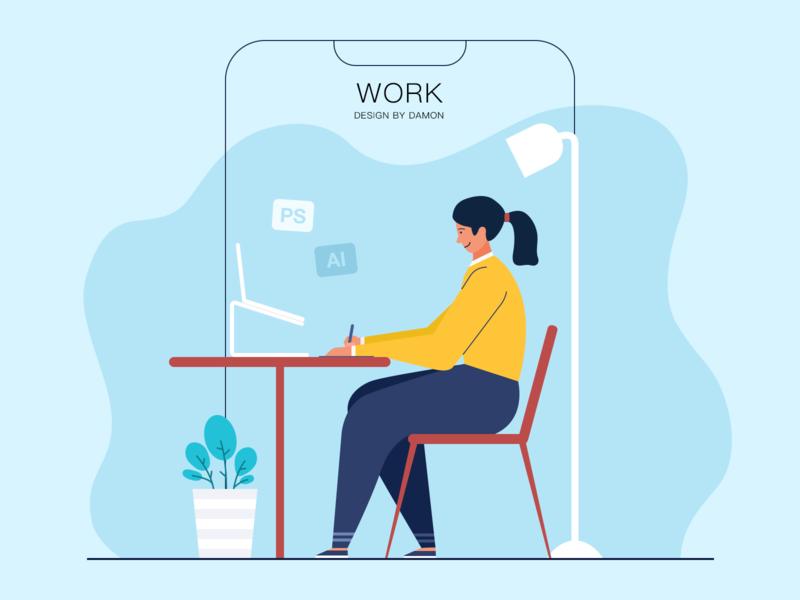 work workspace designer woman work illustration