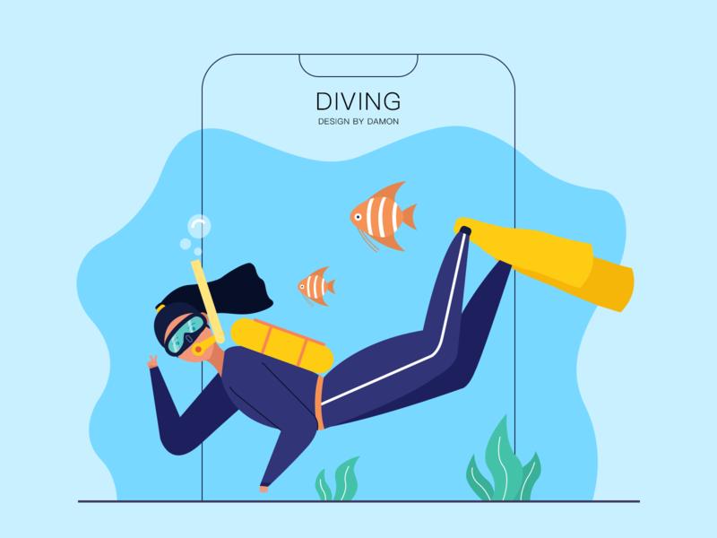 Diving diving illustration