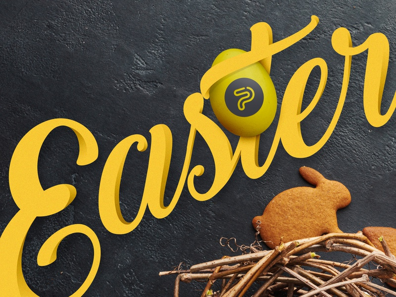 Happy Easter cursive graphicdesign happy fresh grunge texture shadow studio webdesign graphic web cookie wishes agency rabbit black yellow happyeaster easterbunny easter eggs easter