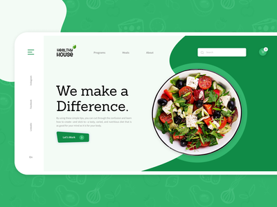 Healthy Food UI Concept website web userinterface uiux uidesign ui simple programs modern meals meal lifestyle landingpage landing healthyfood healthy green food designer concept